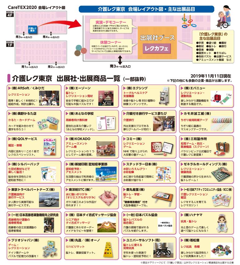 会場レイアウト図・主な出展品目、出店商品一覧